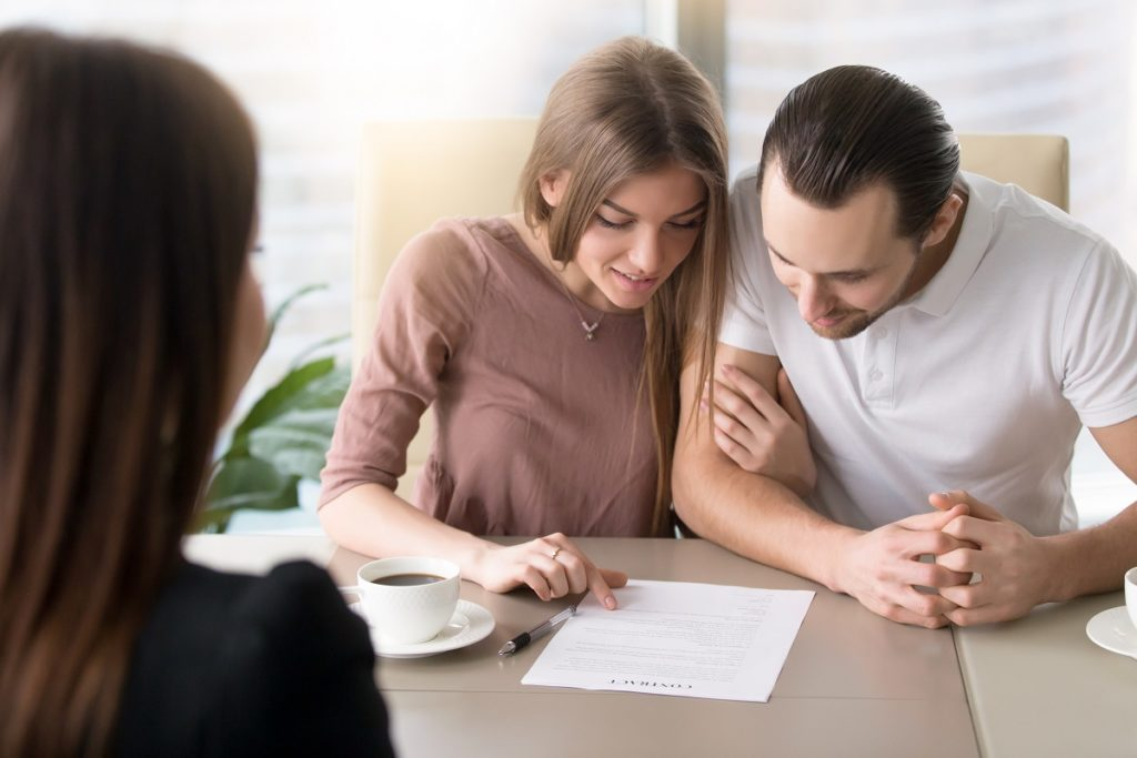Couple reviewing a loan document
