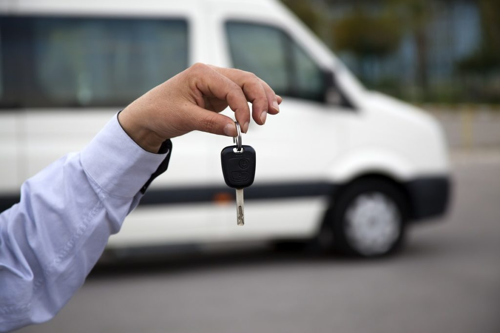 Person holding the sprinter van's key