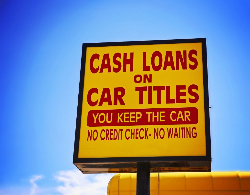 cash loans on car titles sign