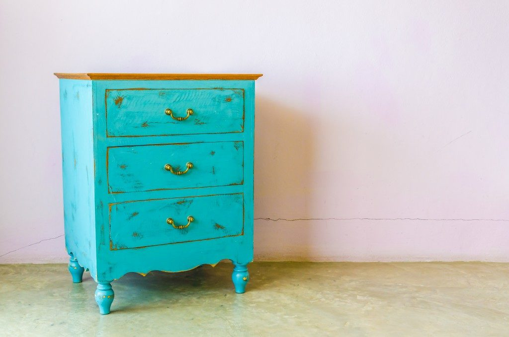 Teal wood drawer