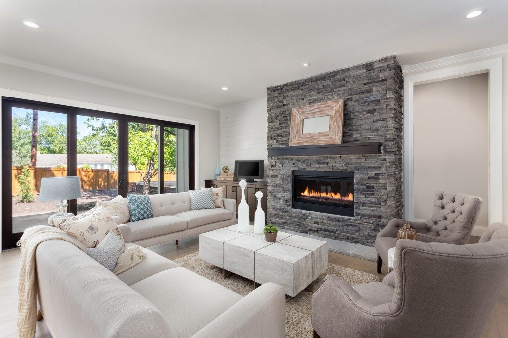 fireplace in a luxurious living room