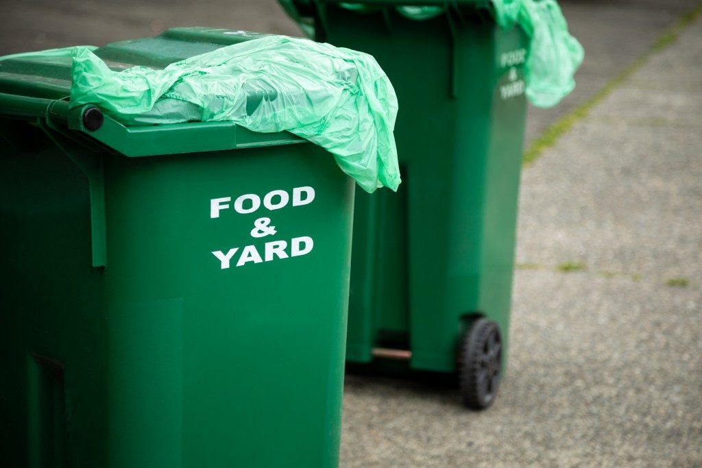 green trash bins