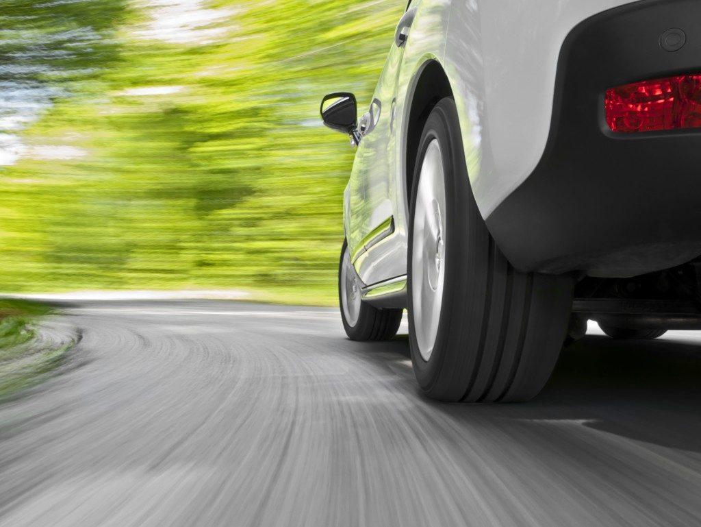 car speeding on the curve