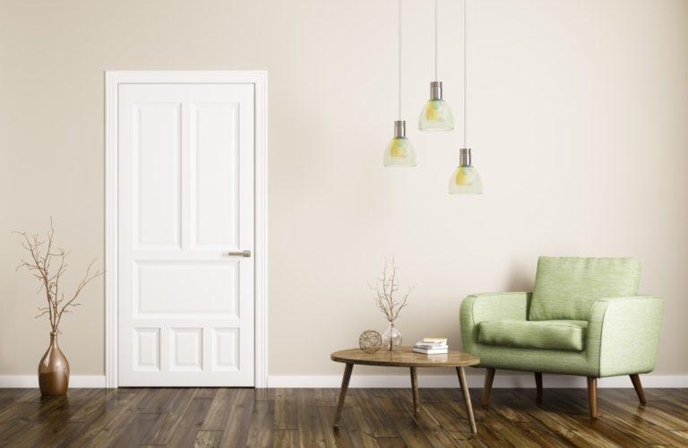 modern furnishing near door of home