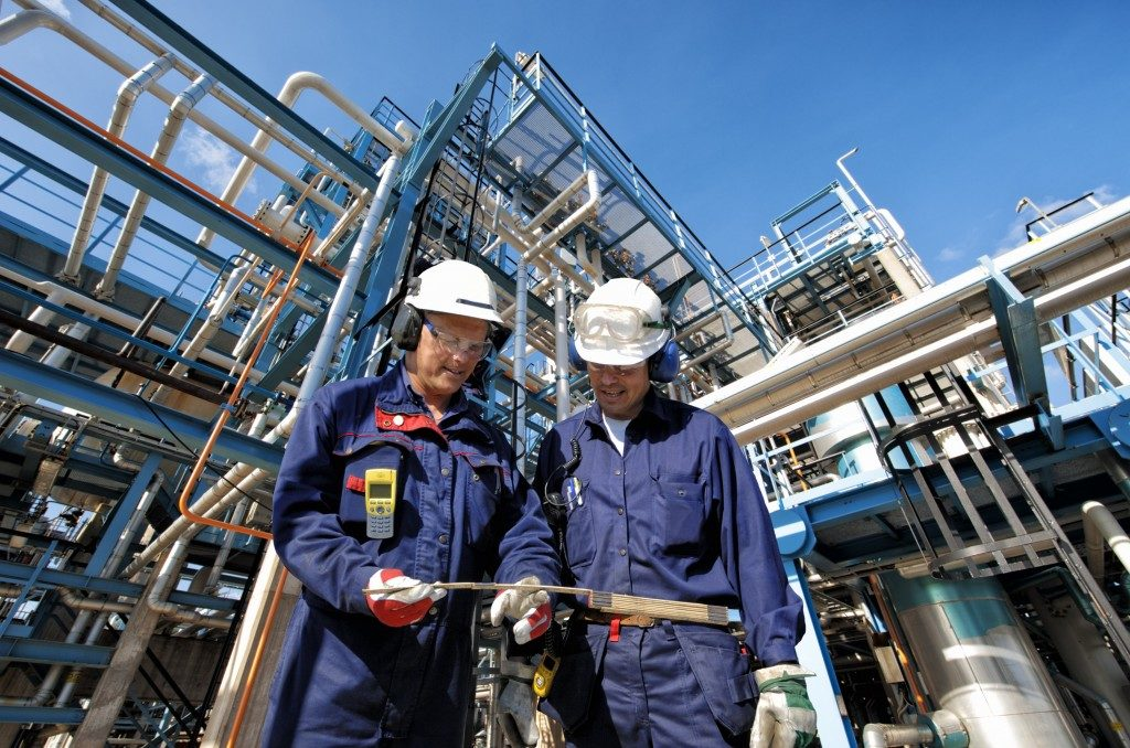 Two workers of gas industry
