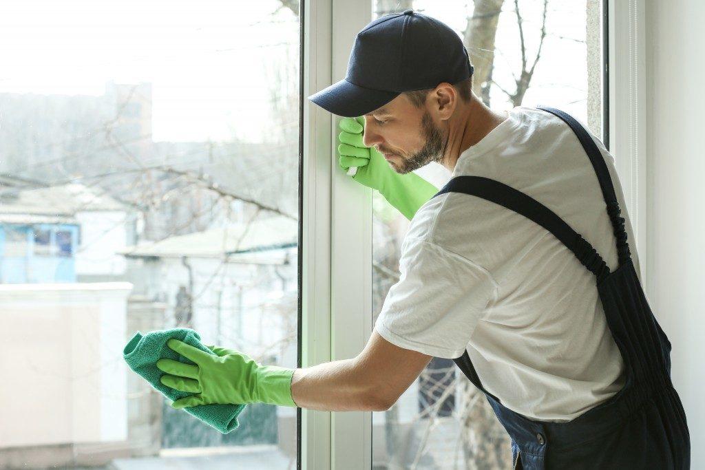 washing a window