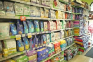 Pet store blurred background