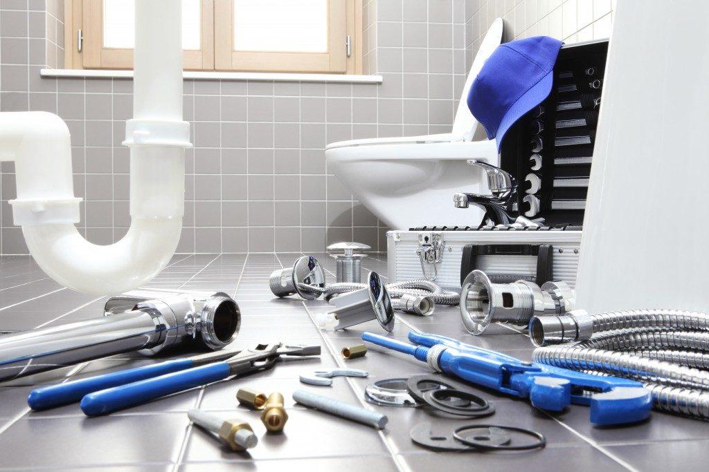 plumber's tools in the bathroom