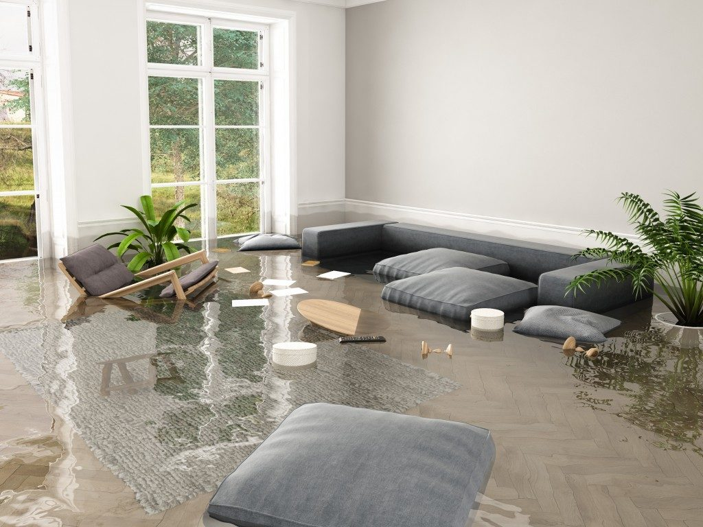 modern home flooded