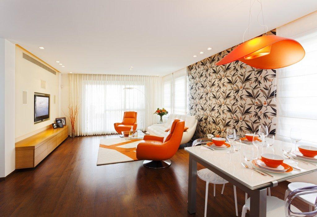 orange and modern living room interior