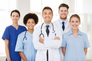 medical professionals in their respective uniforms