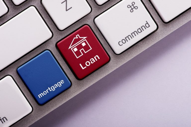 Mortgage loan button on computer keyboard
