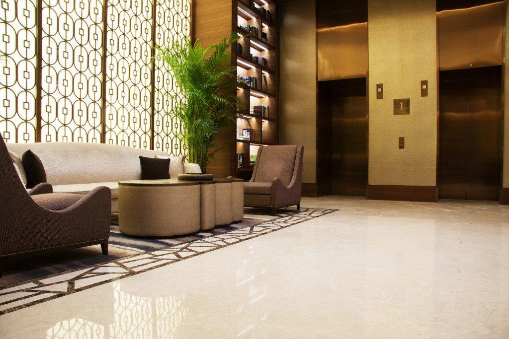 building lobby seatings beside the elevators