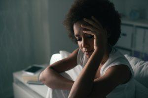 woman feeling upset about something