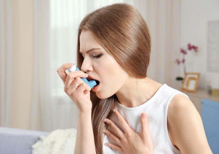 having asthma attack