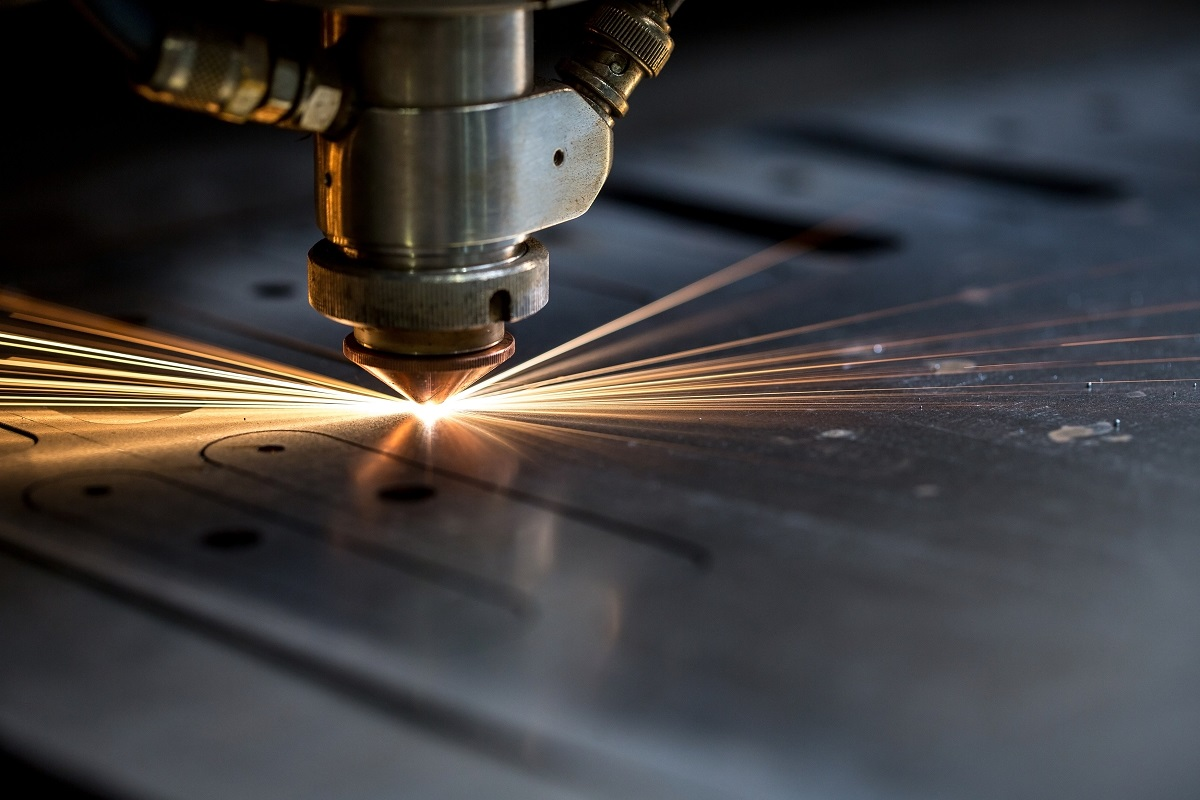 Sparks flying from laser