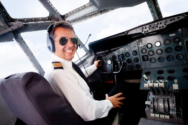 portrait of a pilot flying the plane