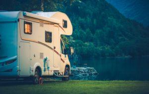 camper van beside the lake